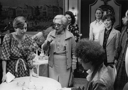 March 27, 1979 - Congressional Wives meet wife of Israeli Prime Minister Menachem Begin: Sara Frankel, left; Aliza Begin, center; Meri Khnokh, wife of Leib Khnokh, seated; Sylva Zalmanson, behind Begin; Rebecca Frailey, rear; Mrs. Paula Blanchard, wife of Rep. James Blanchard (D-MI), right