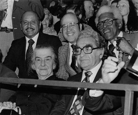 Feb. 1976: Former Israeli Prime Minister Golda Meir at the World Conference on Soviet Jewry, held in Brussels