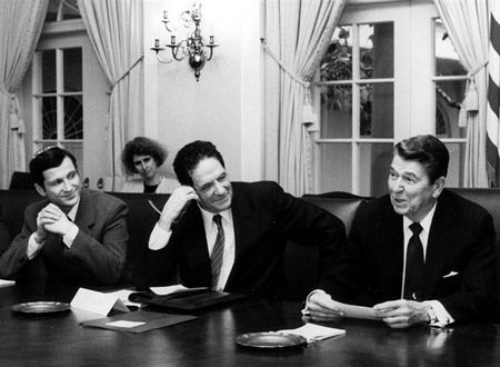 <p>November 18, 1987<br>THE WHITE HOUSE, Office of Media Relations</p><p>In the Cabinet Room of the White House yesterday, President Reagan met with members of the Jewish community who plan to lead a demonstration December 6 on behalf of Soviet Jews. The demonstration is being held in Washington to lend support to the President in his efforst to secure the freedom of Soviet Jewry, and will take place one day before the arrival of General Secretary Gorbachev. </p><p>The President wanted to meet with the group before the U.S.-U.S.S.R. Summit to express his commitment to the cause of Soviet Jews, and to assure the Jewish community that the plight of Soviet Jewry will be an issue at the Summit. The President also wanted to hear from the Jewish leadership regarding their concerns and to find out what they think we should be demanding from the Soviets on this important human rights issue. At the meeting were three recently freed Soviet refuseniks—Yuli Edelstien and Vladimir and Maria Slepak—all of whom thanked the President for ensuring their release. </p><p>Also attending the meetings were: Morris J. Abram, Chairman, National Conference on Soviet Jewry, New York City; Jerry Goodman, Executive Director, National Conference on Soviet Jewry, New York City; Alan Pesky, Chairman, Coalition to Free Soviet Jews, Stamford, Connecticut; Michael Pelavin, Chairman, National Jewish Community Relations Advisory Council of Jewish Federations, Baltimore, Maryland; Pamela B. Cohen, President, Union of Councils for Soviet Jews, Chicago, Illinois; and Martin Stein, Chairman, United Jewish Appeal, Milwaukee, Wisconsin.</p><p>Enclosed is a photo of the President with part of the group. From left to right: Yuli Edelstein and Morris Abram. Mary Dewhirst, Associate Director of the White House Office of Public Liaison, is seated behind them.</p>
