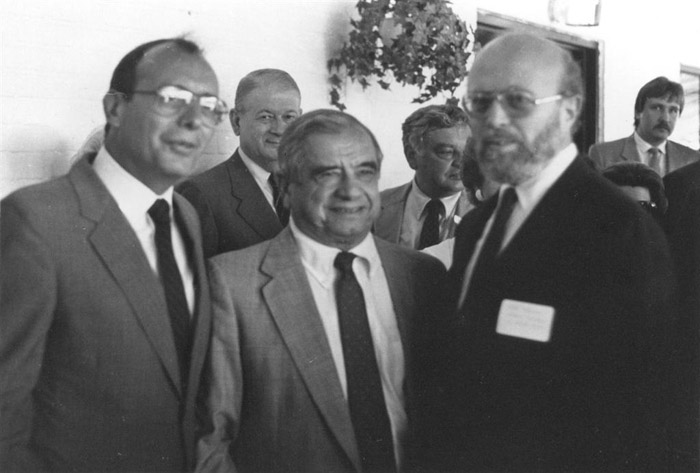 1985: Congressional Coalition for Soviet Jews.  (l.-r.): Sen. Alfonse D'Amato (R-NY), Rep. Dante Fascell (D-FL), U.S. Helsinki Commission Co-chairs, and NCSJ Executive Director Jerry Goodman.
