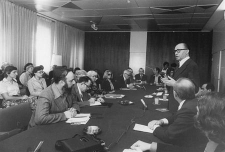 1978: Israeli Prime Minister Menachem Begin speaks at the NCSJ Israel seminar.  Foreground, left, is Jacob Birnbaum of the Student Struggle for Soviet Jewry.
