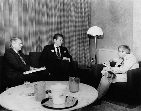 1980: NCSJ Chairman Burt Levinson, right, meets with President Ronald Reagan and his National Security Council Advisor Richard Allen.