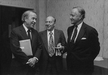 "1977: (l.-r.) Sen. Henry M. ""Scoop"" Jackson (D-WA), NCSJ Chairman Eugene Gold and Sen. Charles McCurdy ""Mac"" Mathias (R-MD) at an NCSJ Leadership Assembly"