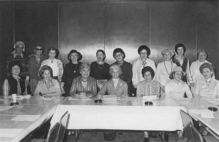 <p>June 23, 1977: Leadership conference hears Women's Plea for Soviet Jewry</p><p>Seated, left to right are; Ruth Perry, President, Women's League for Conservative Judaism; Leona Chanin, President, Women's Division, American Jewish Congress; Betty Golomb, National Federation of Temple Sisterhoods (NFTS); Norma Levitt, Immediate Past Chairwoman, Leadership Conference of National Jewish Women's Organizations; Charlotte Stein, President, Pioneer Women and Leadership Conference Chairwoman; Deborah Turk, President, Women's Branch, Union of Orthodox Jewish Congregations of America (UOJCA), and Betty Benjamin, President NFTS.</p><p>Standing, left to right are; Susan Novins, Women's American ORT staff, Florence Fleischer, Women's American ORT; Celia Tartokovsky, Pioneer Women, Anne Abelow, Women's Branch, UOJCA; Eleanor Schwartz, Executive Director, NFTS; Clara Leff, Pioneer Women; Pearl Wadler, Women's Branch, UOJCA; Ella Berman, Women's League for Conservative Judaism; Josie Mowlem, Women's Plea Staff Coordinator and Jane Evans, NFTS, Executive Director Emeritus.</p>