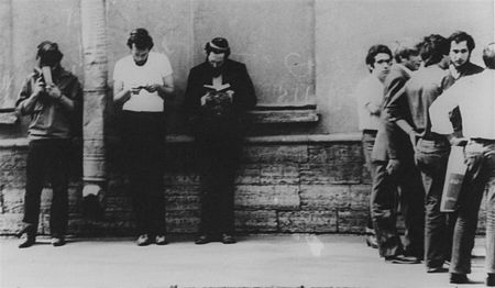 August 1981: Itshak Kogan (far right), Lev Furman (third from left) and friends reciting psalms outside the courtroom in Leningrad where Evgeny Lein was being tried on August 4th - 5th.