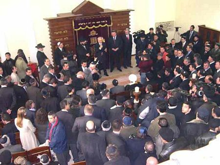 Mar. 2003: Congregants gather at the opening of a new synagogue in Baku, Azerbaijan.