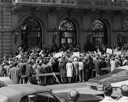 "Friday, April 13, 1973: The Philadelphia Orchestra performs a ""Freedom Symphony"" on the steps of the Academy of Music, in a message to both the oppressed and the oppressor in the Soviet Union."