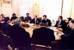 Jun. 2003: Russian President Vladimir Putin meets with Russian Chief Rabbi Berel Lazar, and American Jewish leaders, including NCSJ Chairman Dr. Robert J. Meth (second from left).